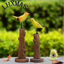 1pcs Handicraft Chinese-style Wood Ornaments Bird Mini Figurines Fairy Garden Accessories E558