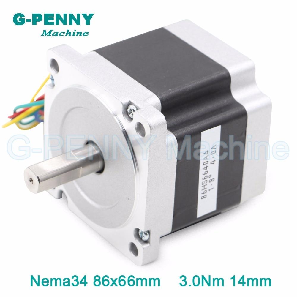 CNC Motor NEMA 34 stepper motor 86X66mm 3 N.m 4A  D14mm nema34 stepping motor 428Oz-in for CNC engraving machine and 3D printer!<br>