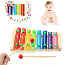 2017 New Wooden Framed 8 Tone Music Steel Children Musical Toys  To Knock The Octave Piano Toy Musical Instrument  Educational