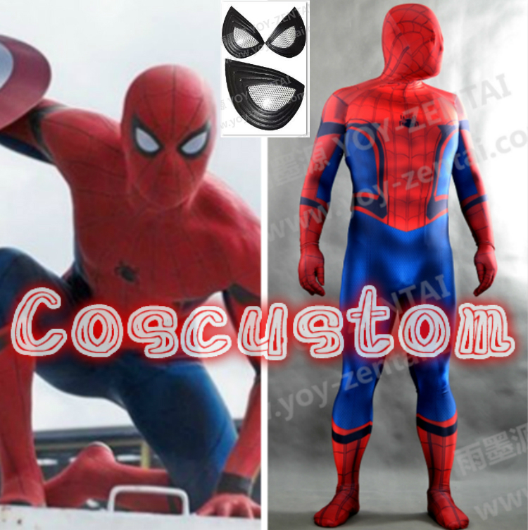 Coscustom High Quality Captain America Civil War Spider-Man Costume Spandex Lycra Bodysuit Spiderman Halloween Cosplay Costume
