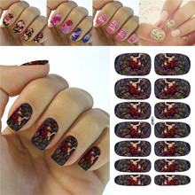 K5687 Water Transfer Foil Nails Art Sticker Fashion Cartoon Halloween Easter Manicure Decor Decals Wraps Foil Sticker for Nail