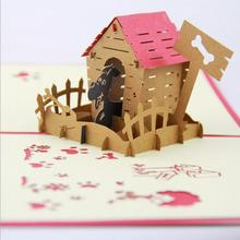 Korea Creative 3D Stereoscopic Pet Cute Dog Paradise Greeting Card Handmade Child Birthday Card Free Shipping