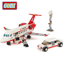GUDI Educational toys 334pcs Plane Toy Air Bus Model Airplane Building Blocks Sets Model DIY Bricks Classic Toys Kids Gifts