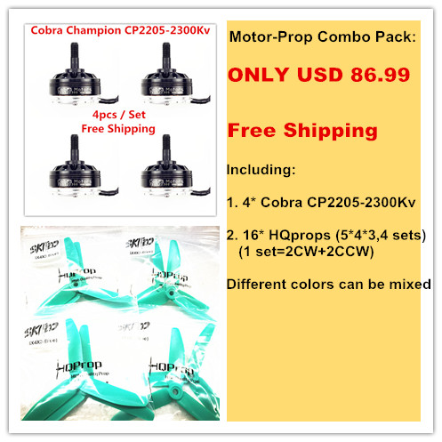Cobra Motor CP2205-2300 Motor-Prop Combo pack for Mini drone, Fpv racing, 4pcs motors+16pcs HQProps, Free Shipping<br><br>Aliexpress
