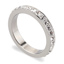 One Lines Crystal Jewelry Free Shipping Wholesale Fashion Wedding Rings(China)