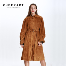 Cheerart 2017 Long Suede Trench Coat Women Oversized Zipper Long Coat Autumn Winter Loose Black Khaki Long Cape Duster Coat(China)