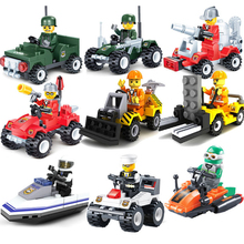 Assembled Police Fire Brigade Engineering Vehicle Model Building Blocks Set Children Educational Puzzle Toys Kids Gifts(China)