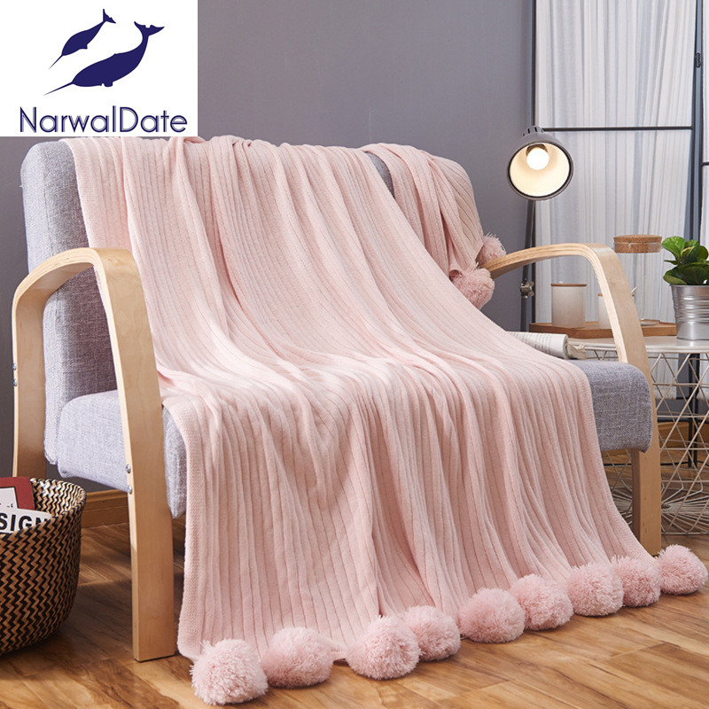 Hairball Blanket Sofa Decorative Slipcover Throws on Sofa/Bed/Plane Travel Rectangular Knitted Blankets<br>