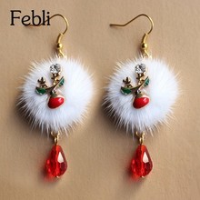 Febli European Fashion Santa Claus Fawn White Pompon Red Crystal Christmas Dangle Earrings(China)