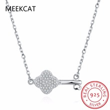 MEEKCAT Fashion jewelry 925 sterling silver key necklace chain containing 45 cm for women cubic zirconia necklace Colar de Prata