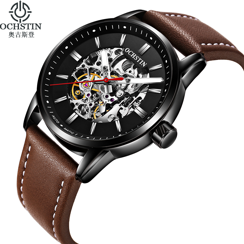 2018 New OCHSTIN Luxury Brand Fashion Mechanical Watches Men Leather Strap Luminous Mens Sport Automatic Watches reloj hombre<br>
