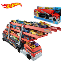 Hot Wheels Heavy Transport Vehicles Hotwheels 6 Layer Small Car Toy Scalable Storage Transporter Truck Boy Educational Toy CKC09(China)