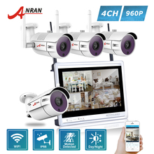 ANRAN P2P 4CH WIFI NVR 12 Inch LCD Monitor 36 IR Waterproof Surveillance Security 960P Wireless IP Camera System HDD Optional(China)