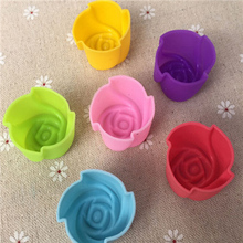 6PCS/Set Rose Shape Muffin Sweet Candy Jelly Fondant Cake Chocolate Mould Silicone Tool Baking Cooking Accessory Free Shipping