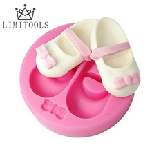 LIMITOOLS 3D Cute Baby Shoes Bow Silicone Cake Molds Gum Paste Chocolate Fimo Clay Candy Mold Fondant Cake Decorating Tools
