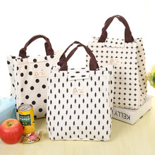 Best Sellers 2017 Portable Linen Lunch Bag Insulated Cold Canvas Picnic bag lunch Carry Case For Kids Women Thermal Bag(China)