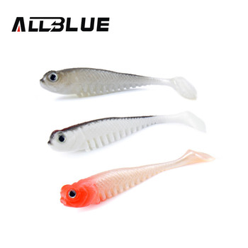 ALLBLUE 10pcs/lot 2.6g/7.5cm Soft Bait Fish Fishing Lure Shad 3D Eyes Soft Silicone Tiddler Bait Swimbaits Plastic Lure Pasca