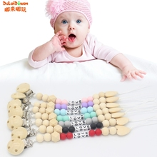 Buy Baby Nipple Clips Wooden Beads Teether Letter Pacifier Infants Soother Holders for $1.48 in AliExpress store