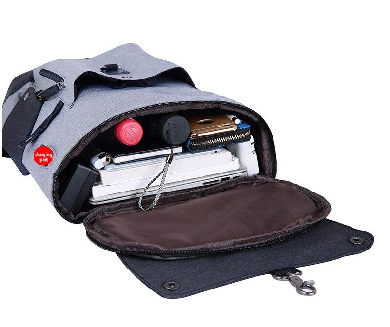 Herr ryggsäckar USB-laddare Laptop ryggsäck Oxford / läderväska Casual Mochila resväska