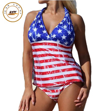 2016 New Women Suits Swimwear Stripes and Stars American Flag Blue Red White Two Piece Set Swimsuit Sexy Beach Bathing Suit
