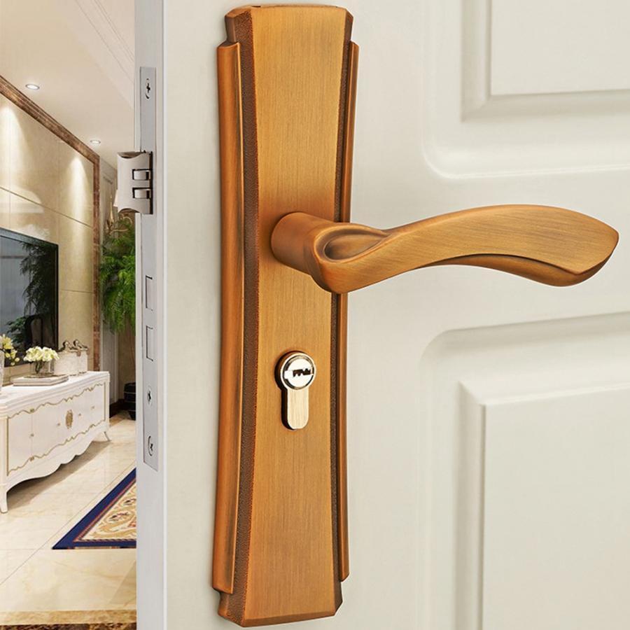 Lock Core Key European And American Handle Door Lock Silent Wooden Door Zinc Alloy Lock-yellowbronze Bedroom Bathroom Kitchen Lever Door Lock Handle