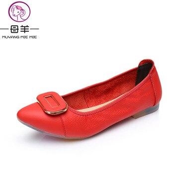 MUYANG MIE MIE Femmes Appartements De Mode En Cuir Véritable Plat Chaussures Femme Bout Pointu Doux Chaussures Doux Semelle Femmes Occasionnels Chaussures