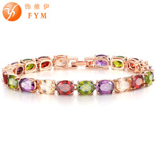 FYM Brand luxury Rose Gold Color Crystal Chain Link Bracelet AAA Zircon CZ Colorful Bracelets for Women Wedding Jewelry