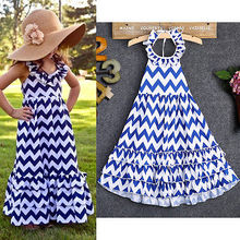 2016 Summer Cool Fashion Backless Baby Kids Girls Sleeveless Blue+White Wave Wavy Stripe Maxi Long Sundress Boho Dress 3-10Y