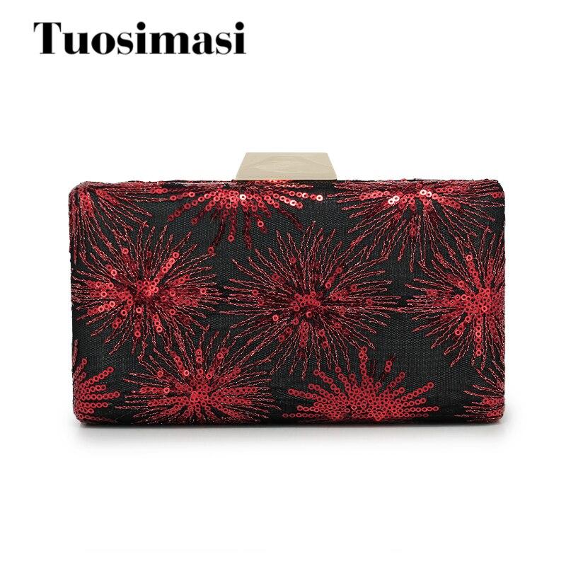 Embroidery Red firework Fashion Women Shoulder Handbags Messenger Crossbody Bags Evening Flap Bag Box Clutch Purse(C1183)<br>