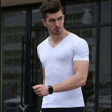 Men T-shirt 2017 Summer V Neck Short Sleeve T Shirt Men Fashion Trends Fitness Casual Homme Solid Color T Shirt Size 3XL