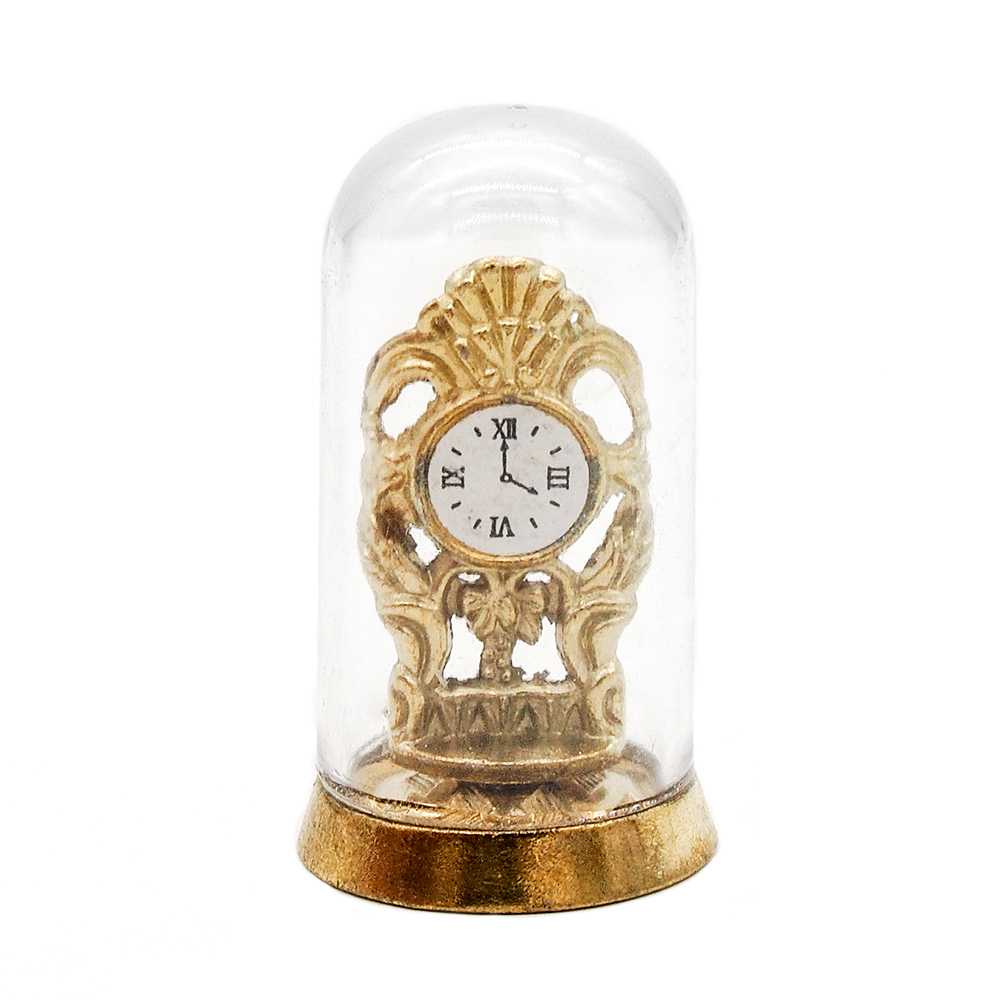 1:12 Miniature golden pendulum clock dollhouse diy doll house decor accessories