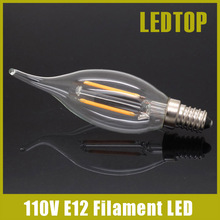 New Design E12 2W 4W AC 110V 120V Dimmable LED Filament Candle Bulbs CRI 80 360 Degree Equivalent CFL Halogen Lamp Edison Light(China)