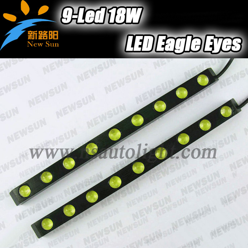 9 LED light strip auto 18W Eagle Eye DRL led universal daytime lights Waterproof Tail Backup Reverse lights<br>