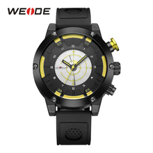 WEIDE Mens Sport Yellow Watch Military Backlight Analog LCD Digital Quartz Black Man Clocks Silicone Band Buckle Wristwatch(China)