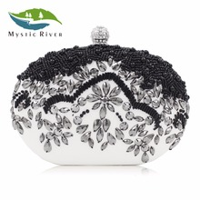 Mystic River Black Beaded Bags Oval Evening Bag Fashion Small Day Clutch Lady Wedding Purse Chain Diamonds White Party Cluthes(China)