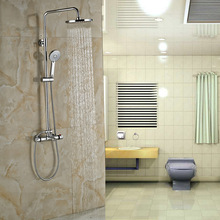 "Modern Chrome 8"" Rain Shower Head Shower Faucet Sset Dual Handle Thermostatic Bath Shower Mixer Taps"