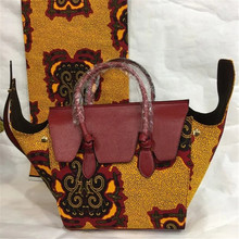 New Wax Printed Hand Bag with nice PU leather + Super real wax print one piece of 6yards  BG1022