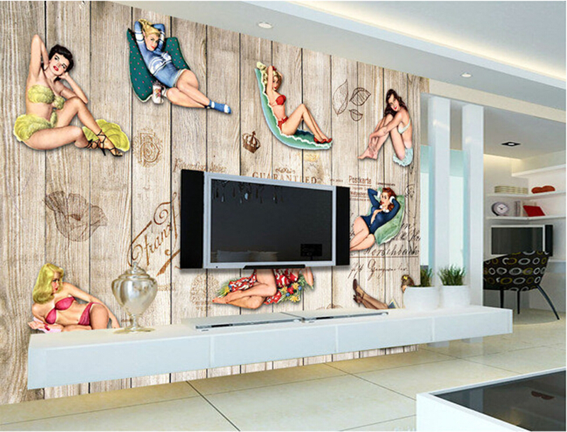 Custom 3D retro nostalgia plank sexy girl Papel DE parede,  restaurant coffee shop living room bedroom TV wall murals wallpaper<br>
