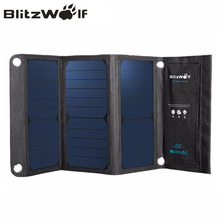 BlitzWolf Portable Solar Power Bank 20W Dual USB Powerbank Charger Solar Panel Mobile Phone Charger Universal For iPhone 7 6s 6(China)