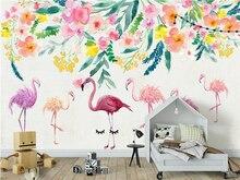 Современные пользовательские фотообои ручной росписью Фламинго Цветы фото обои с тиснением Уолл Бумага ТВ Задний план настенная(China)