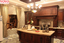 Birch solid wood kitchen cabinet with curvy countertop for island(China)