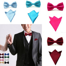 Polyester Tie set Bow Ties for Men Necktie Pocket square Wedding Bowtie Handkerchief Mariage Butterfly towel