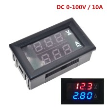 "DC 0-100V 10A Digital Voltmeter Ammeter Dual Display Voltage Detector Current Meter Panel Amp Volt Gauge 0.28"" Red Blue LED"
