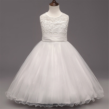 Good Quality Hiver White Hand-woven Flower Girl Wedding Lace Dresses Sweet Kids Bow Flower Child Lace Girls Birthday Party Dress