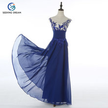 2017 Fashion O-Neck Chiffon Lace Flower Backless Evening Dress Gown Formal Party/Prom Dresses Blue/Red/Black DH5003