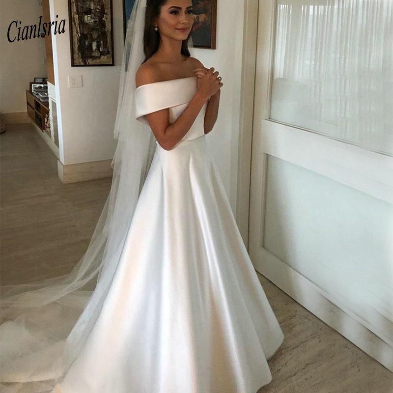 2019 Simple Boat Neck Country Wedding Dresses With Sashes Bow Off The Shoulder Long Custom Made Wedding Dresses
