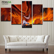 PENGDA Modern Painting Picture Decoration Frame Canvas Art 5 Panel Naruto Cartoon Anime Kurama Wall Poster Decor Living Room