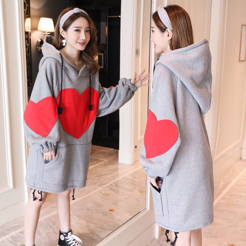 2017 big codes Autumn and winter maternity dress With velvet thickening Hooded Middle and long paragraph Sweater dress<br>