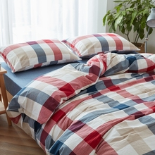 Water washed cotton fabric duvet cover blue red plaids quilt cover only king queen twin 150x200cm 200x230cm 220x240cm sale 6121(China)