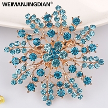 WEIMANJINGDIAN Brand High Quality Colored Rhinestones Flower Fashion Brooch Pins for Women in assorted colors